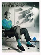 PUBLICITE ADVERTISING 104  1986  BURLINGTON  COMMUNICATES pull chaussettes COLOR
