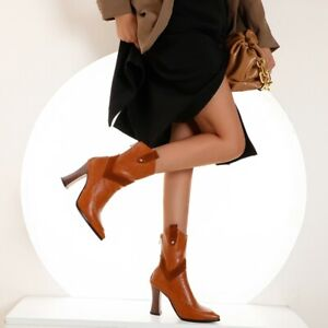 Women's Ankle Boots High Block Heels Back Zipper Ladies Pointed Toe Party Shoes