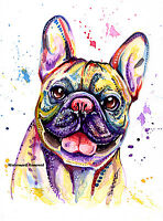 French Bulldog Frenchie art print painting Bull Dog Birthday Gift - Size Options