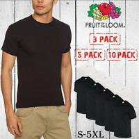 3/5/10 Pack Fruit Of The Loom T-Shirt Plain Black  White Cotton Cheap Tee Tshirt