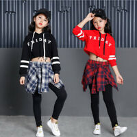 Girls Children Jazz Hip Hop Modern Dancewear Kids Dance Costumes Top & Pants