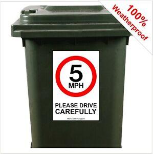 5mph road safety wheelie bin sticker sign 9419 30cm x 20cm safer roads children