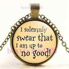 I Solemnly Swear That I Am Up To No Good Cabochon Glass Bronze Necklace