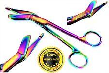 """NEW GERMAN 1 Lister Bandage Nurse Scissors - 7.25"""" Multi Titanium Color Rainbow"""