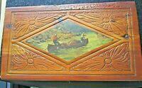 Vintage Cedar Hand Carved Dresser Box With 2 Men In Canoe Decoupage Panel