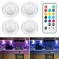RGB Schrankleuchten LED Nachtlicht mit Fernbedienung 4er, Kabinett Beleuchtung