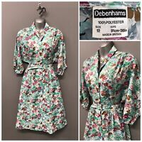Vintage Debenhams Green Floral Dress UK 12 EUR 40 US 8
