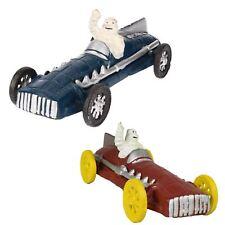 L'homme Michelin bleu rouge Racer / Voiture course Figure statue fonte Figurine