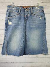 Hint Jeans Womens Denim Pencil Skirt Sz 7 Distressed