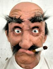 Old Man Mask Latex Funny Bald Head Grey Hair Fake Cigarette Costume Accessory