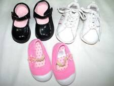 Lot 3 Pairs Baby Girls Shoes Fiit 6/12 mo Carters Athletic Works No Brand