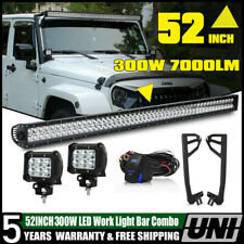 For Jeep Wrangler JK 52INCH 300W LED Work Light Bar+Mount Bracket+2 Pods Cube CA