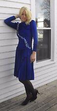 Vtg 80s Blue Sequin Dress Beaded Ruched Long Sleeve XS Susan Roselli for Vijack