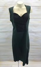 Rock Steady Dress 1X Green Black Pinup Diva Cocktail Stretch Sexy Ruched B87