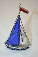 "Stained Glass Sailboat 5 1/2"" Candleholder"