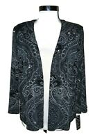 NEW ALEX EVENINGS Plus Size 2X Jacket Cardigan Top Black Glitter 3/4th Sleeve