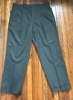 Lands End Mens Brown Dress Pants Pleated Cuffed 100% Wool Size 36 X 30 GC