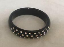 Black Lucite with Crystals Deco Bracelet 2 NWOT