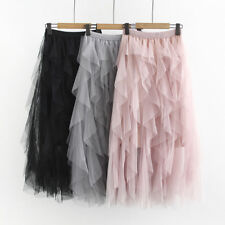 T06 Women's Tulle layered Tulle skirt High Elastic waist Maxi Dress Size 10-20