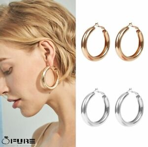 50MM Women Party Large  Gold  Silver Chunky Big Very Thick Gold Hoop Earrings