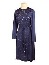Vintage Dress Rhinestone Studs Midnight Blue Poly 1970S Marilyn