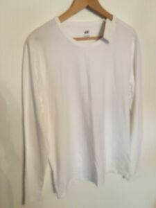 H&M Mens Large Size Slim Diamond White Long Sleeve Stretch Top New