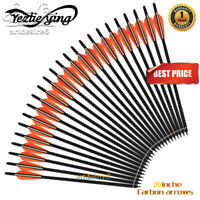 """6/12/24PK Hunting Archery 20'' Carbon Shaft Arrows Bolts 4"""" vanes For Crossbow"""