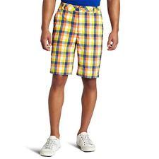 Men's Puma Golf Check Tech Shorts Vibrant Orange/Blue/Yellow Size 28 $70