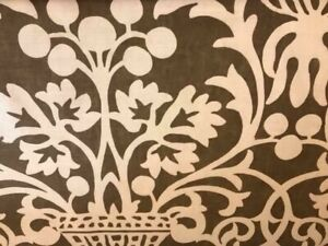 """'Vermentino', an exclusive handprint by Vervain, Brown/Beige, 4 yards by 54"""""""