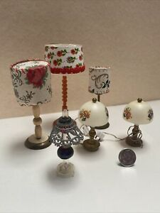Vintage German Lamp Lot Some Working Electric Dollhouse Miniature 1:12