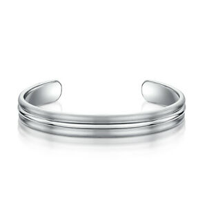 Titanium Silver Womens Bracelet Bangle Matt High Polished Grooved Ladies Bangle