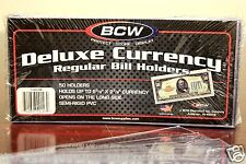 10 BCW DELUXE Regular Currency Banknote Holder Semi Rigid Bill Sleeves PVC Case