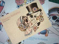 Tattoo Bride & Groom Sugar Skull Handmade Evening Wedding Invitations