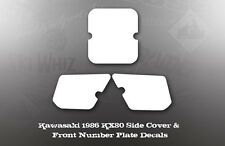 KAWASAKI 1986 KX80 SIDE COVER FRONT NUMBER PLATE DECAL KIT LIKE NOS OEM GRAPHICS