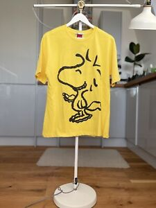 🐶 Zara Peanuts Snoopy T-shirt Top Tee Yellow With Prints Size S BNWT
