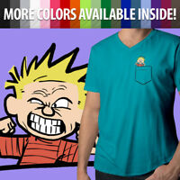 Calvin and Hobbes Funny Face Calvin in Pocket Mens Unisex Tee V-Neck T-Shirt Top