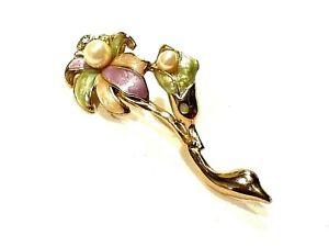 Bijou broche fleur émaillé alliage doré brooch