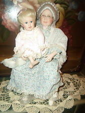 Grandma & Grandbaby Porcelain Doll Once Upon A Time Danbury Mint Judy Belle +Box