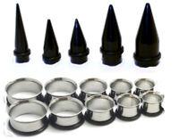 2 Steel Tunnels HEKEUOR 9mm Ear Stretching Kit Body Jewelry 2 Black Acrylic Tapers