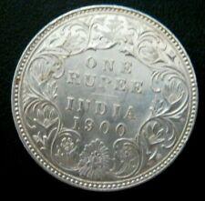 ONE RUPEE VICTORIA 1900 Silver coin AU INDIA BRITISH ship included