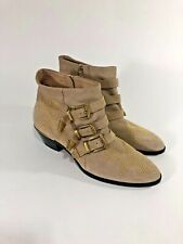 Chloé Suzanna Suede Studded Buckle Booties in Beige Size 40 $1295