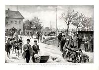 Osterspaziergang XL Kunstdruck 1927 Ostern Würstchenstand Kinderwagen Motorrad