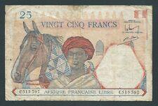F.C. FRENCH EQUATORIAL AFRICA , 25 FRANCOS 1941 , B/C- ( FINE- ) , P.7a .