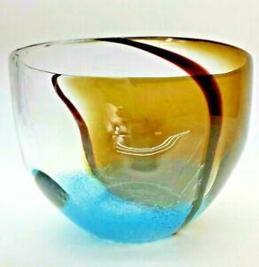 "Hand Blown Art Glass Bubble Vase Bowl w/rare Clear and Auburn Design 10"" X 6"""