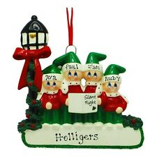 PERSONALIZED Lamp Post Carolers Family of 4 Christmas Ornament 2019 Holiday Gift