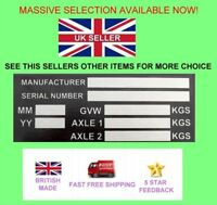 Trailer Blank VIN & Weight Chassis Plate LARGE 140mm x 70mm Idenfication Number