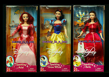 SPARKLING Ariel Doll Belle Snow White Beauty and the Beast Disney Princess Lot 3