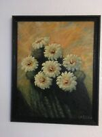 Signed Floral Painting on Board