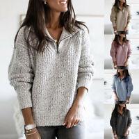 Winter Women Warm Knitted Sweater Pullover Ladies Long Sleeve Zipper Jumper Coat