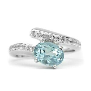 8x6mm Natural Light Greenish Blue Aquamarine Ring With Zircon in 925 Silver